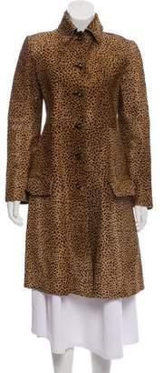Gianni Versace Animal Print Leather Coat