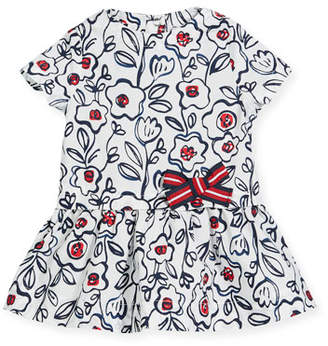 Petit Bateau Short-Sleeve Cotton Floral Dress, Size 3-36 Months