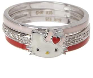Hello Kitty Sterling Silver Stackable Enamel Ring - Set of 3
