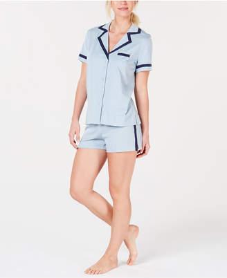 Alfani Pima Cotton Short Sleeve Top & Pajama Shorts Set
