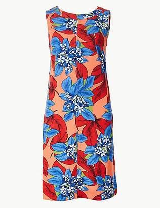 M&S Collection Linen Rich Floral Print Shift Mini Dress