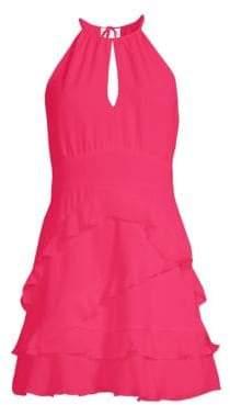 Parker Pixie Ruffled A-Line Halter Dress