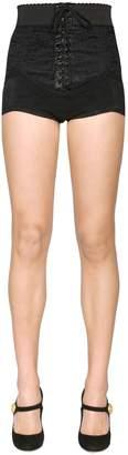 Dolce & Gabbana Lace-Up Chantilly Lace Shorts