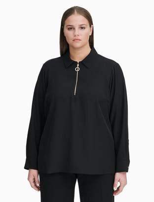 Calvin Klein Plus Size Circular Zip Long Sleeve Top