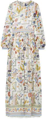 Tory Burch Remi Printed Silk-georgette Maxi Dress - Cream