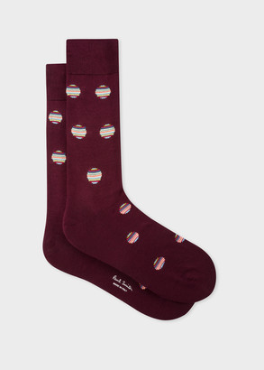 Paul Smith Men's Burgundy Polka Dot Stripe Socks