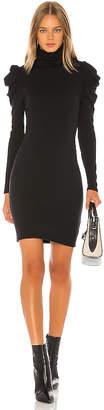 Enza Costa Cashmere Puff Sleeve Turtleneck Mini Dress