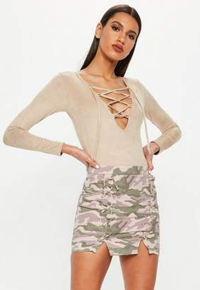 Missguided Pink Lace Up Front Camo Mini Skirt, Blush
