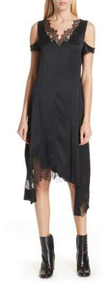 Helmut Lang Deconstructed Lace Trim Dress