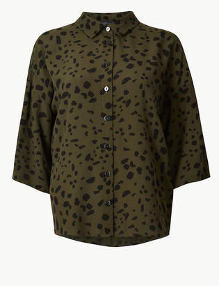 Marks and Spencer Oversized Animal Print 3/4 Sleeve Shirt