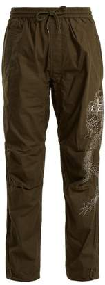 MHI Dragon Embroidery Cotton Trousers - Womens - Green