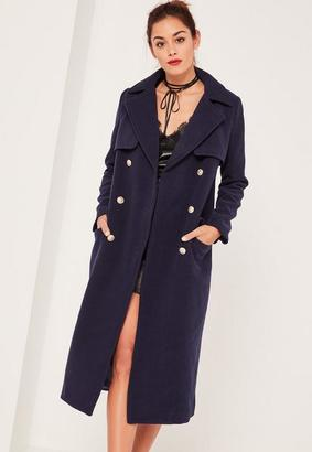 Navy Longline Military Coat $154 thestylecure.com