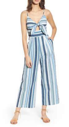 Moon River Front Tie Striped Jumpsuit