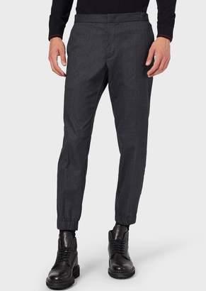 Emporio Armani Micro-Pattern Trousers In Soft-Hand Fabric