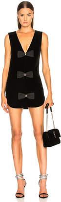 Saint Laurent Velvet Sleeveless Bow Front Dress