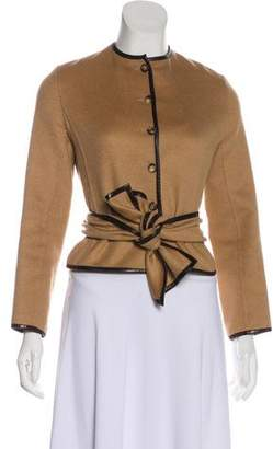 Celine Leather-Accented Camel Hair Jacket