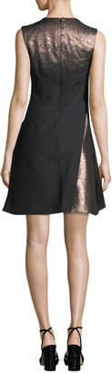 Neiman Marcus Rubin Singer Metallic A-Line Cocktail Dress
