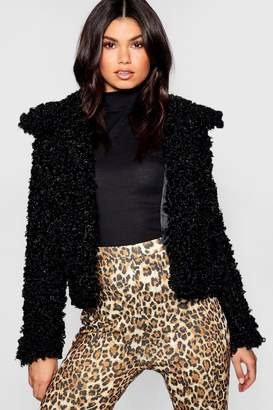 boohoo Premium Teddy Faux Fur Crop Coat