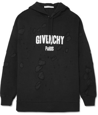Givenchy - Printed Distressed Cotton-jersey Hooded Top - Black