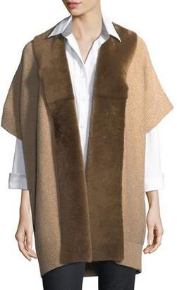 Lafayette 148 New York Shearling Fur-Trimmed Oversized Cardigan