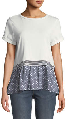 Nicole Miller New York Crewneck Short-Sleeve Dot-Woven Peplum Top