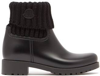 Moncler Ginette Knitted And Rubber Rain Boots - Womens - Black