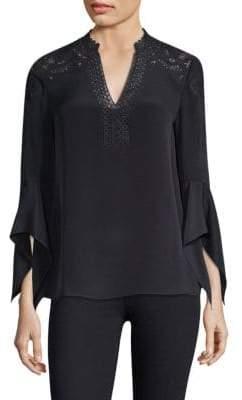 KOBI HALPERIN Jessa Embroidered Bell-Sleeve Silk Blouse