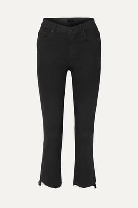 Mother The Insider Crop High-rise Flared Jeans - Black