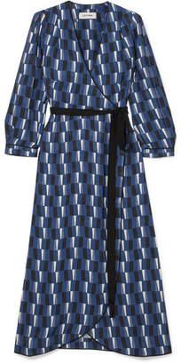 Cefinn - Printed Satin Wrap Midi Dress - Blue