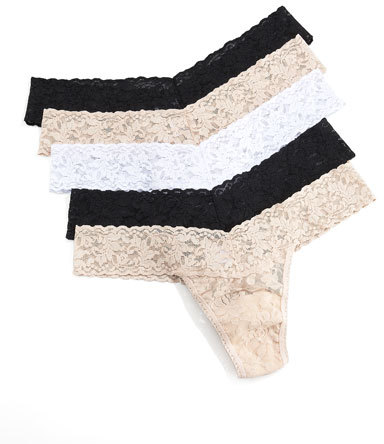 Hanky Panky Five-Pack Low-Rise Thongs, Basic Colors