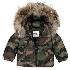 SAM. Unisex Camo-Print Fur-Trimmed Down Jacket - Baby