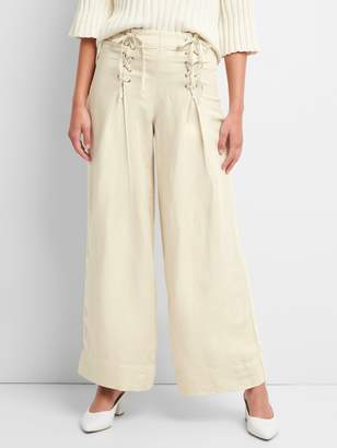 Gap High Rise Wide-Leg Pants with Lace-Up Detail in Linen