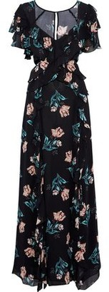 Nicholas Cutout Ruffled Floral-Print Silk-Chiffon Maxi Dress