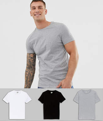 Asos Design 3 Pack T-Shirt In White/Black/Grey Marl With Crew Neck Save