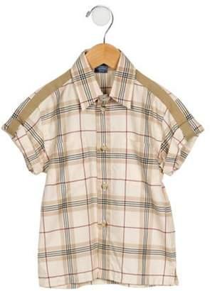 Burberry Boys' Plaid Button-Up Shirt tan Boys' Plaid Button-Up Shirt