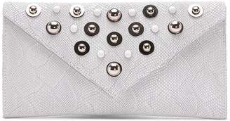 Donald J Pliner REIKASP, Embellished Washed Python Print Leather Clutch