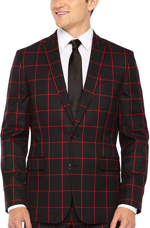 JF J.Ferrar Windowpane Slim Fit Stretch Suit Jacket