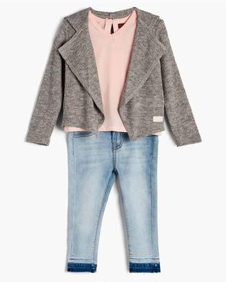7 For All Mankind Kids Girls 2T-4T Cardigan Tee Skinny In Seashell Pink