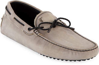 Tod's Men's Gommini Nubuck Drivers with Braided Tie, Gray