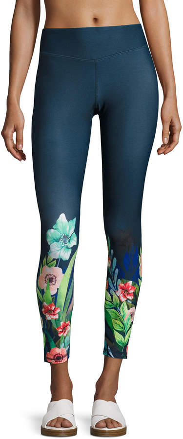 Charlie Jade Charlie Jade Floral-Print Performance Leggings, Gray Pattern