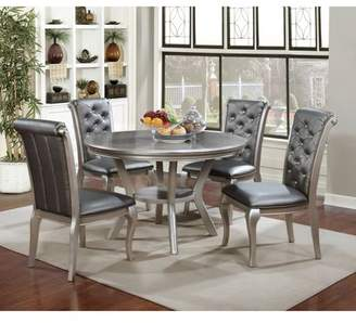 Furniture of America Minham Contemporary Round Dining Table, Silver