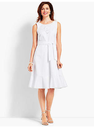 Talbots Embroidered Sateen Fit-and-Flare Dress