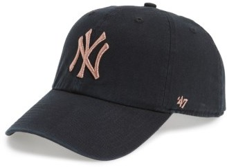 Women's '47 Ny Yankees Metallic Embroidery Baseball Cap - Black $25 thestylecure.com