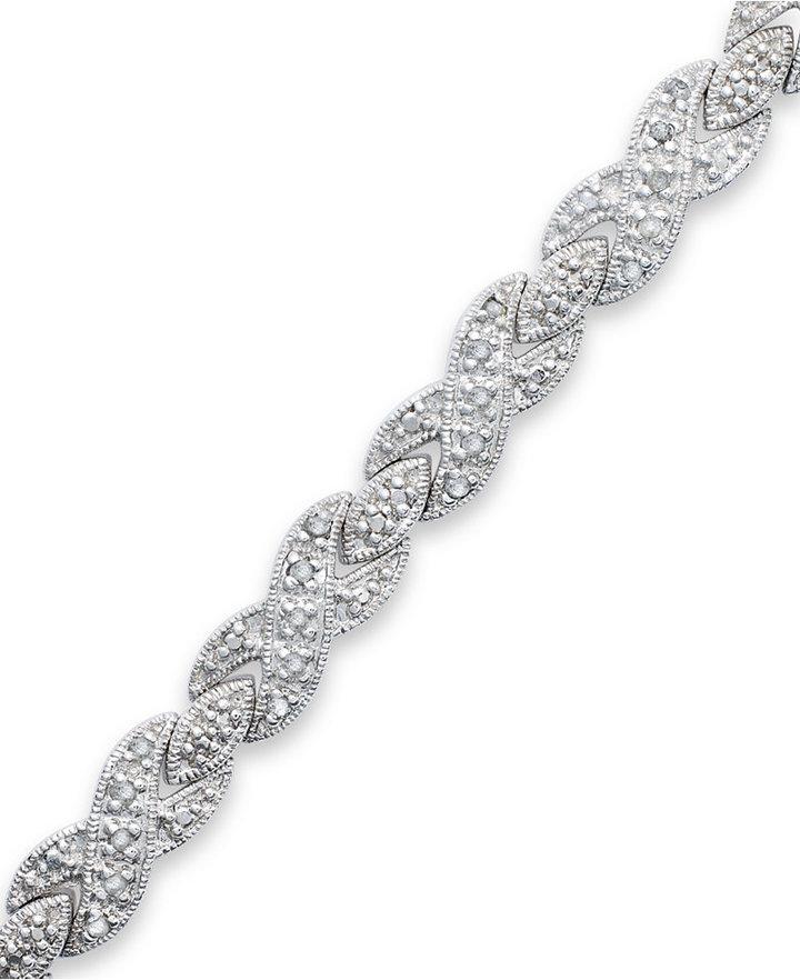 Townsend Victoria Rose-Cut Diamond XO Bracelet in Silver-Plated Brass (1/2 ct. t.w.)