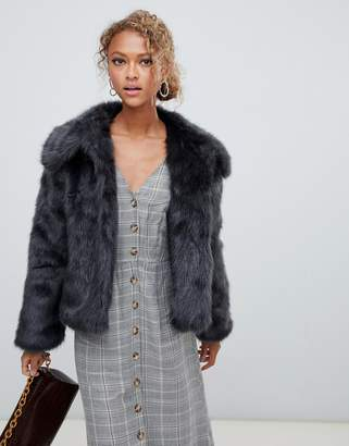 New Look faux fur short coat in gray