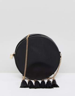 French Connection Circular Bag With Tassel Edging