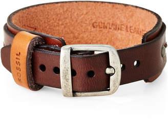 Fossil Stitched Leather Bracelet