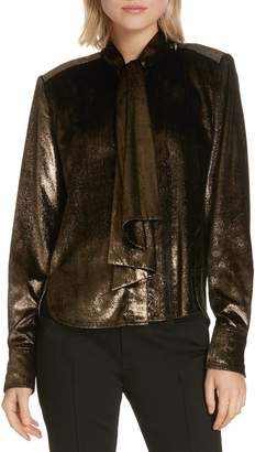Frame Tie Neck Metallic Velvet Top