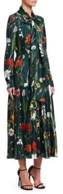 Oscar de la Renta Floral-Print Wrap Midi Dress