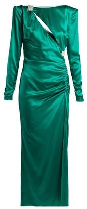 Alessandra Rich - Ruched Crystal Embellished Silk Satin Dress - Womens - Green